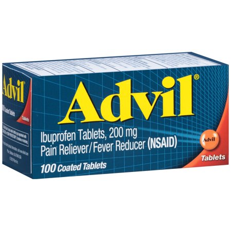 (2 pack) Advil Pain Reliever/Fever Reducer Ibuprofen Coated Tablets, 200 mg, 100