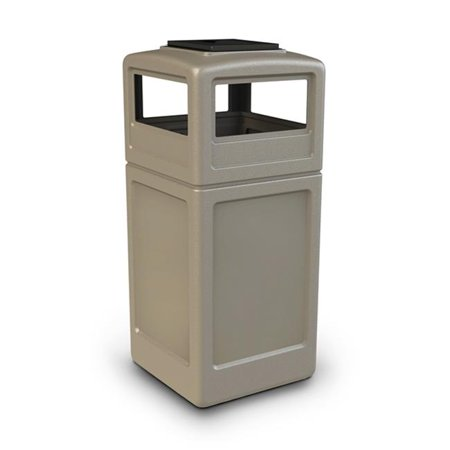 Commercial Zone Products 73300299 42-gallon Square Waste Container with Ashtray Dome Lid Beige