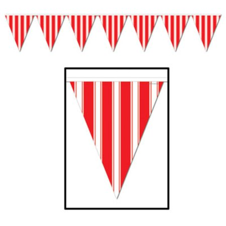 Pack of 12 Red and White Striped Circus Carnival Party Decoration Pennant Banners 12'
