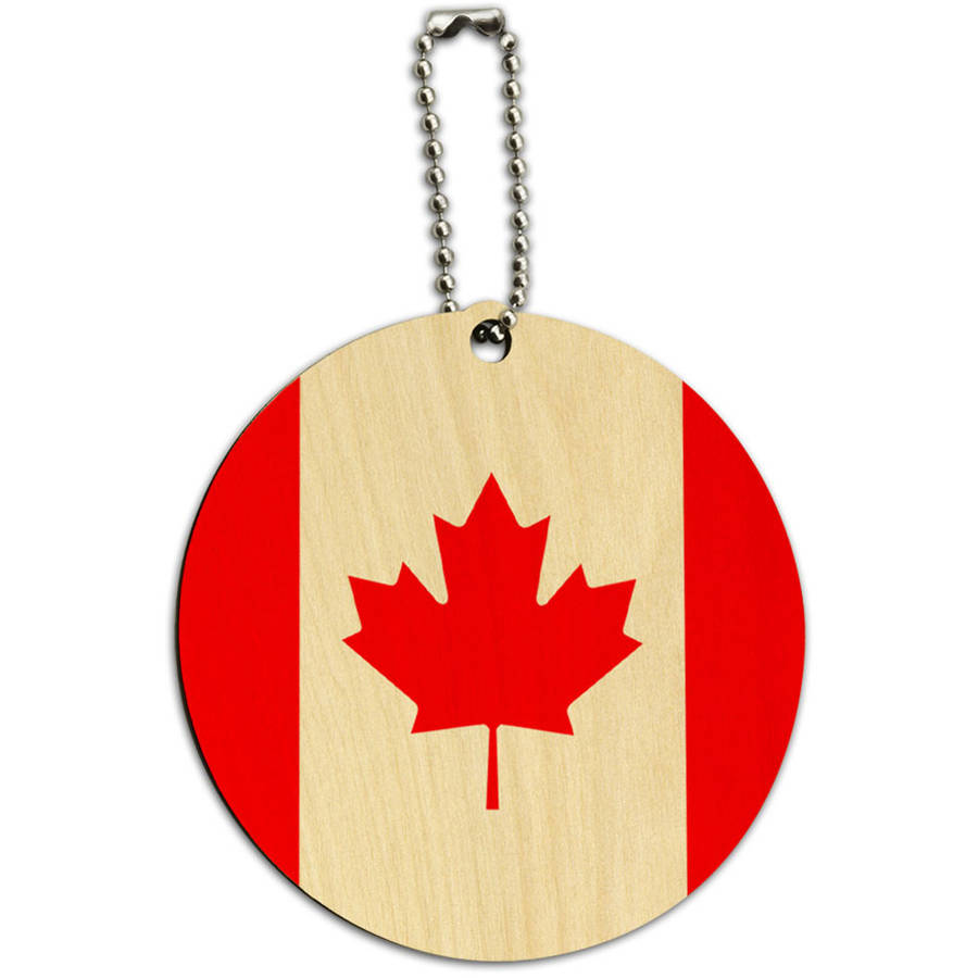 Graphics and More Canada National Country Flag Round Wood ID Tag Luggage Card for Suitcase or Carry-On