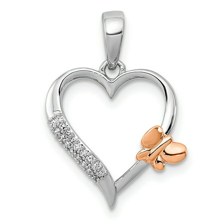 c50effbb0 925 Sterling Silver//14k Rose Gold Butterfly Diamond Heart Pendant Charm Necklace  Gifts For