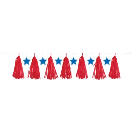 7' Plastic Red, White, and Blue Patriotic Tassel - Red White And Blue Garland