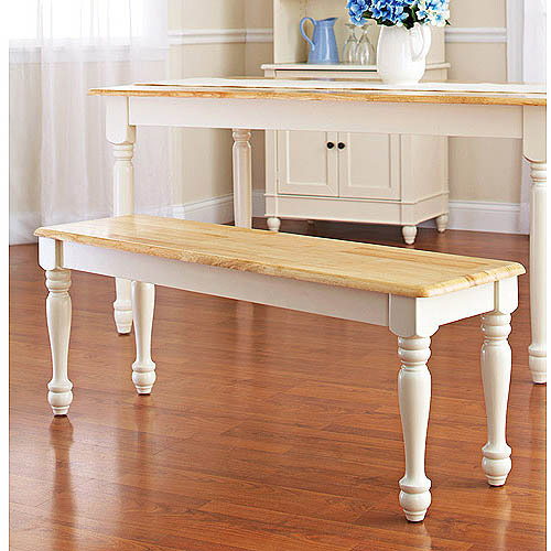 Better Homes and Gardens Autumn Lane Farmhouse Bench, White and Natural