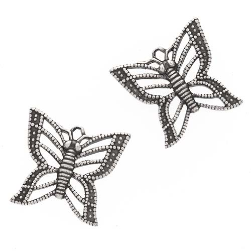 Sale! 20% Off! Antiqued Silver Plated Filigree Butterfly Charms 14mm (2 Charms)