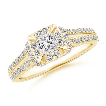 April Birthstone Ring - Claw-Set Diamond Cushion Halo Collar Engagement Ring in 18K Yellow Gold (3.8mm Diamond) - SR1537D-YGE-II1-3.8-5.5