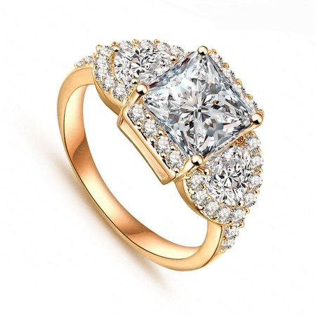 Womens 18K Yellow Gold Plated 3 Stone Cubic Zirconia Cz Promise Eternity Ring Engagement Wedding Band