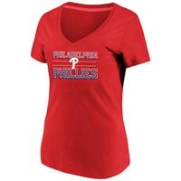 Women's Majestic Red Philadelphia Phillies Compulsion to Win Plus Size V-Neck T-Shirt