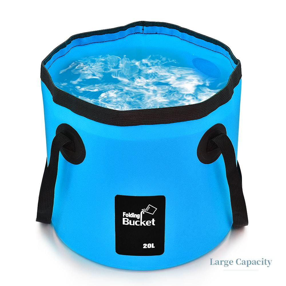 Portable Plastic Water Pail Foldable Round Tub Collapsible Car Trunk Organizer for All Types of Vehicles SAMMART Collapsible Fishing Bucket with Locking Lid Green