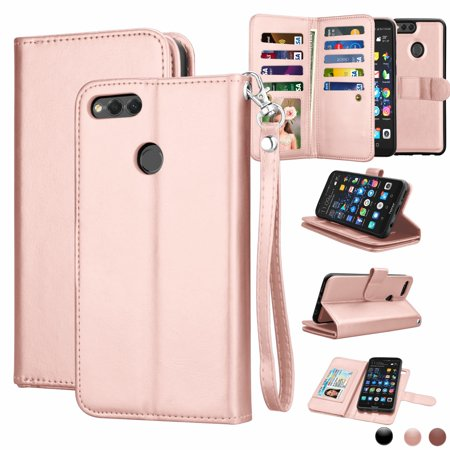 Huawei Mate SE Case, Mate SE Wallet Case, Huawei Honor 7X Pu Leather Case, Njjex Pu Leather Magnet Stand Folio Flip Built-in 9 Card Slots With Wrist Strap Wallet Cases Cover For Huawei Mate SE](huawei mate 9 deals)