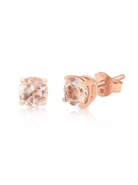 Round Treated Morganite Stud Earring in 14K Rose Gold Plated Sterling Silver