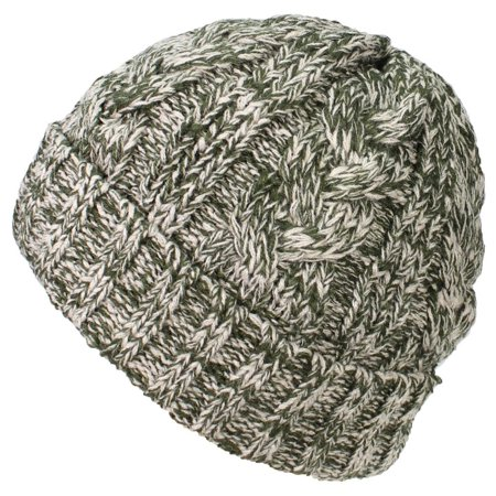 606515ed5 Best Winter Hats Womens Variegated Cable Knit Messy Bun/Ponytail Cuffed  Beanie - Green/Khaki