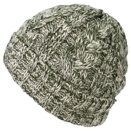 b5ca3f75aba Best Winter Hats - Best Winter Hats Womens Variegated Cable Knit Messy  Bun Ponytail Cuffed Beanie - Green Khaki - Walmart.com