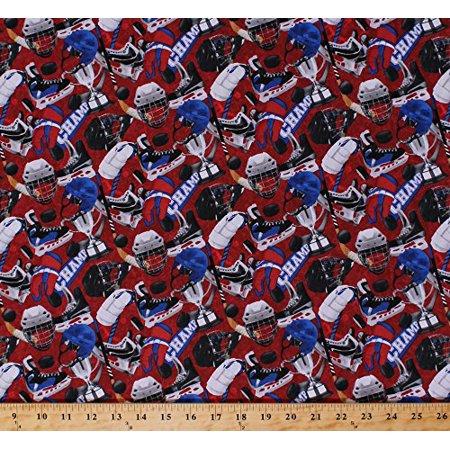 Cotton Power Play Hockey Gear Equipment Sticks Pucks Helmets Skates Gloves Trophy on Red Sports Cotton Fabric Print by the Yard (21240-24) (Hockey Goalie Gear Glove)