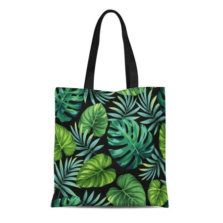 ASHLEIGH Canvas Bag Resuable Tote Grocery Shopping Bags Blue Jungle Tropical with Exotic Palm Leaves Green Aloha Beach Foliage Leaf Summ Tote Bag