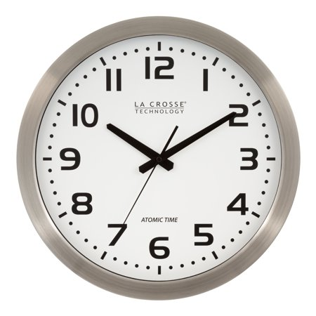 La Crosse Technology WT-3161WH 16 Inch Stainless Steel Atomic Clock Stainless Steel Kitchen Clock