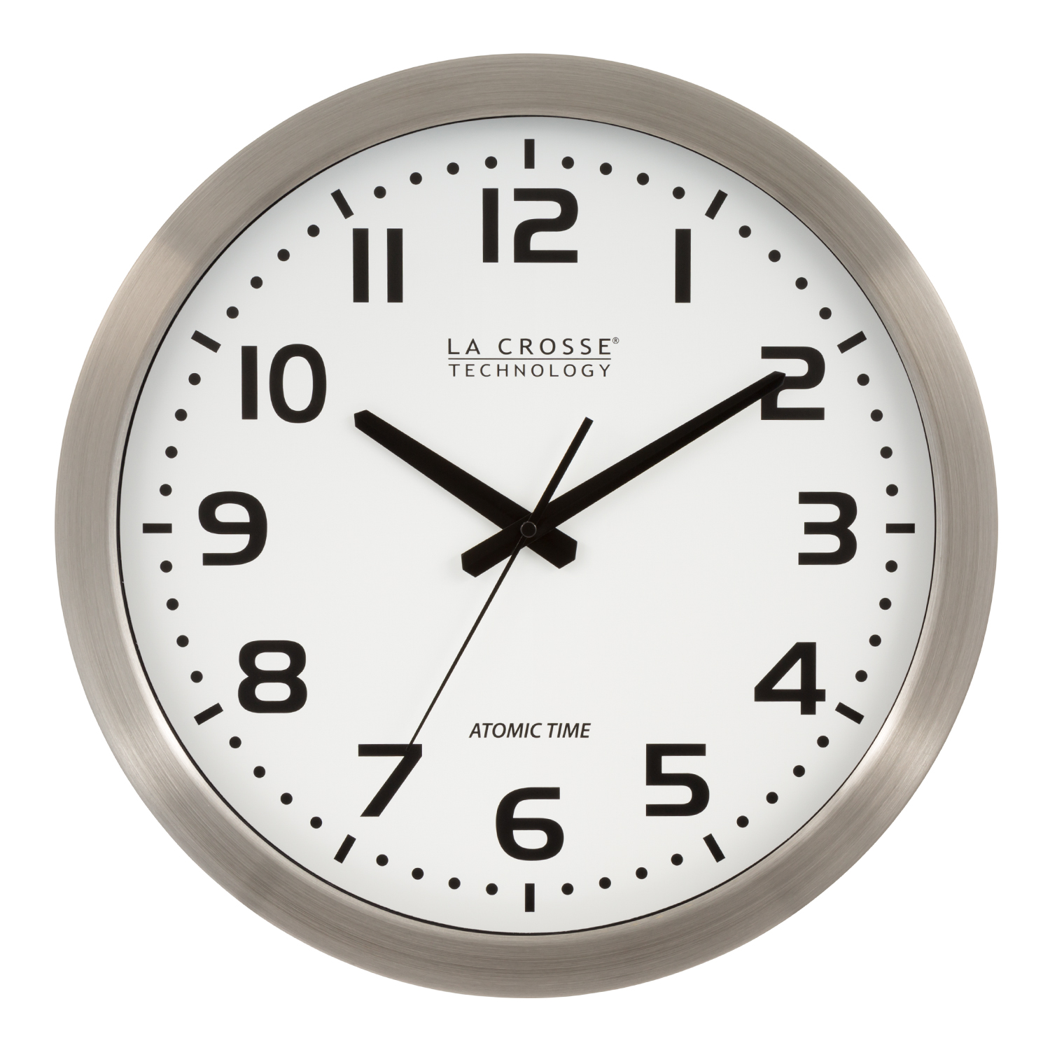 "La Crosse Technology 16"" Stainless Steel Atomic Clock, White Dial"