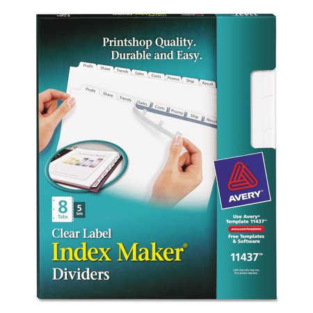 Avery Print Apply Clear Label Dividers Wwhite Tabs 8 Tab Letter