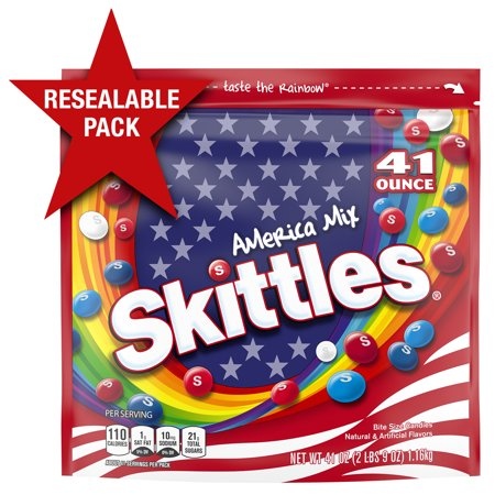 SKITTLES America Mix Red, White & Blue Patriotic Candy, 41-Ounce Party Size Bag (Personalized Skittles)