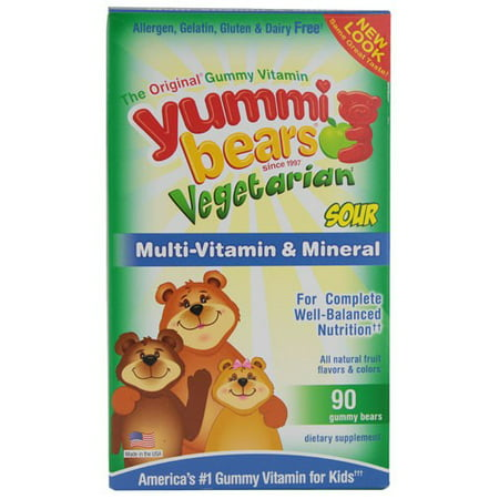 Yummi Bears Multi-Vitamin and Mineral Gummy Bears, Vegetarian Sour Natural Fruit, 90 Ct