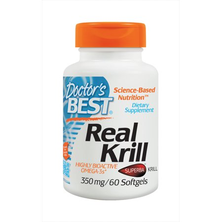 Doctor's Best Real Krill, Non-GMO, Gluten Free, Highly Active Omega-3's, 60 (Best Rated Krill Oil Supplements)