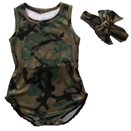 Baby Girls Boys Sleeveless Camouflage Romper Bodysuit Headband Outfit