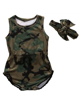 c501f978f23a Product Image Baby Girls Boys Sleeveless Camouflage Romper Bodysuit Headband  Outfit