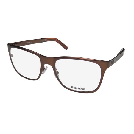 New Jack Spade Wells Mens Designer Full-Rim Semi Matte Brown Simple & Elegant Collectible Genuine Frame Demo Lenses 53-18-140 Flexible Hinges Eyeglasses/Eyeglass Frame