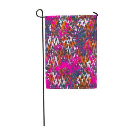 JSDART Geometric Pattern Over Colorful Watercolor Splash Bold Chevron Garden Flag Decorative Flag House Banner 12x18 inch - image 1 de 1