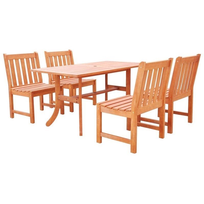 Malibu Eco-friendly 5-piece Outdoor Hardwood Dining Set with Rectangle Table and Armless Chairs