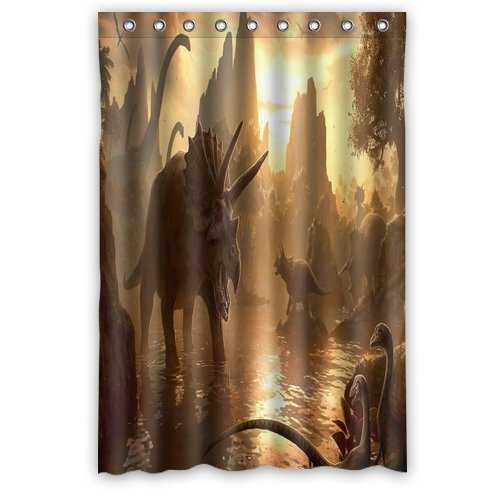 DEYOU 3D Art Ancient World Of Dinosaurs Shower Curtain Polyester Fabric Bathroom Shower Curtain Size 48x72 inches