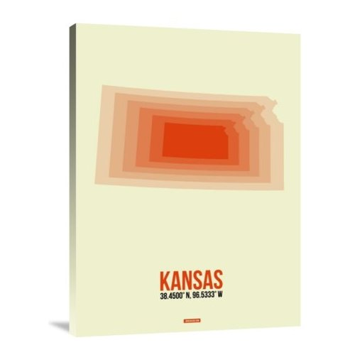 Naxart 'Kansas Radiant Map 1' Graphic Art Print on Canvas