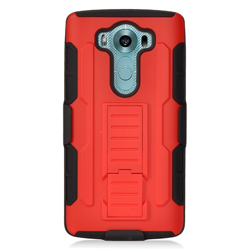 Insten Car Armor Stand Dual Layer Hybrid Case with Holster For LG V10 - Red/Black - image 2 de 3