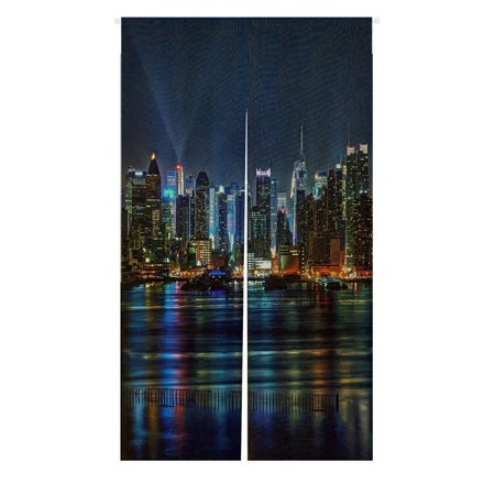 Night Door Curtain - GCKG NYC New York City Colorful Buildings At Night Doorway Curtain Japanese Noren Curtains Door Curtain Entrance Curtain Size 85x150cm