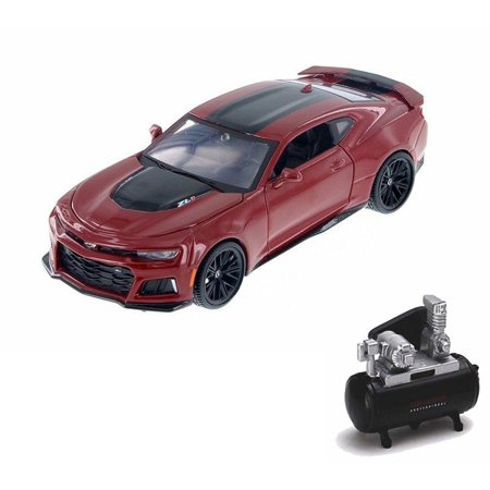 Diecast Car & Air Compressor Package - 2017 Chevrolet Camaro ZL1 Hard Top, Red - Motor Max 79351/16D - 1/24 Scale Diecast Model Toy Car w/Air Compressor