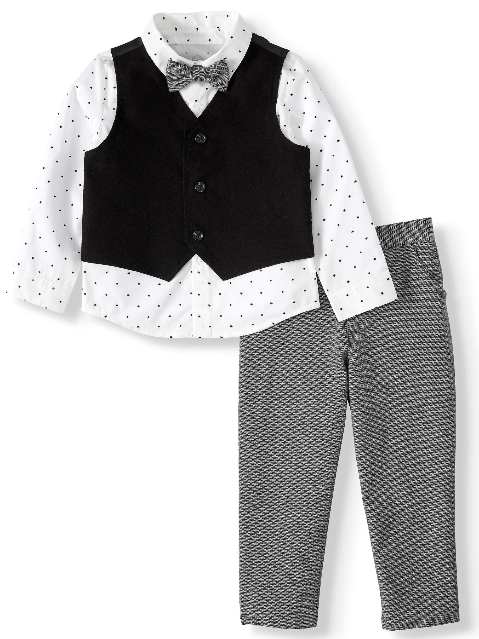 Wonder Nation Baby Boy Long Sleeve Button Up, Vest, Bowtie & Pants 4pc Outfit Set
