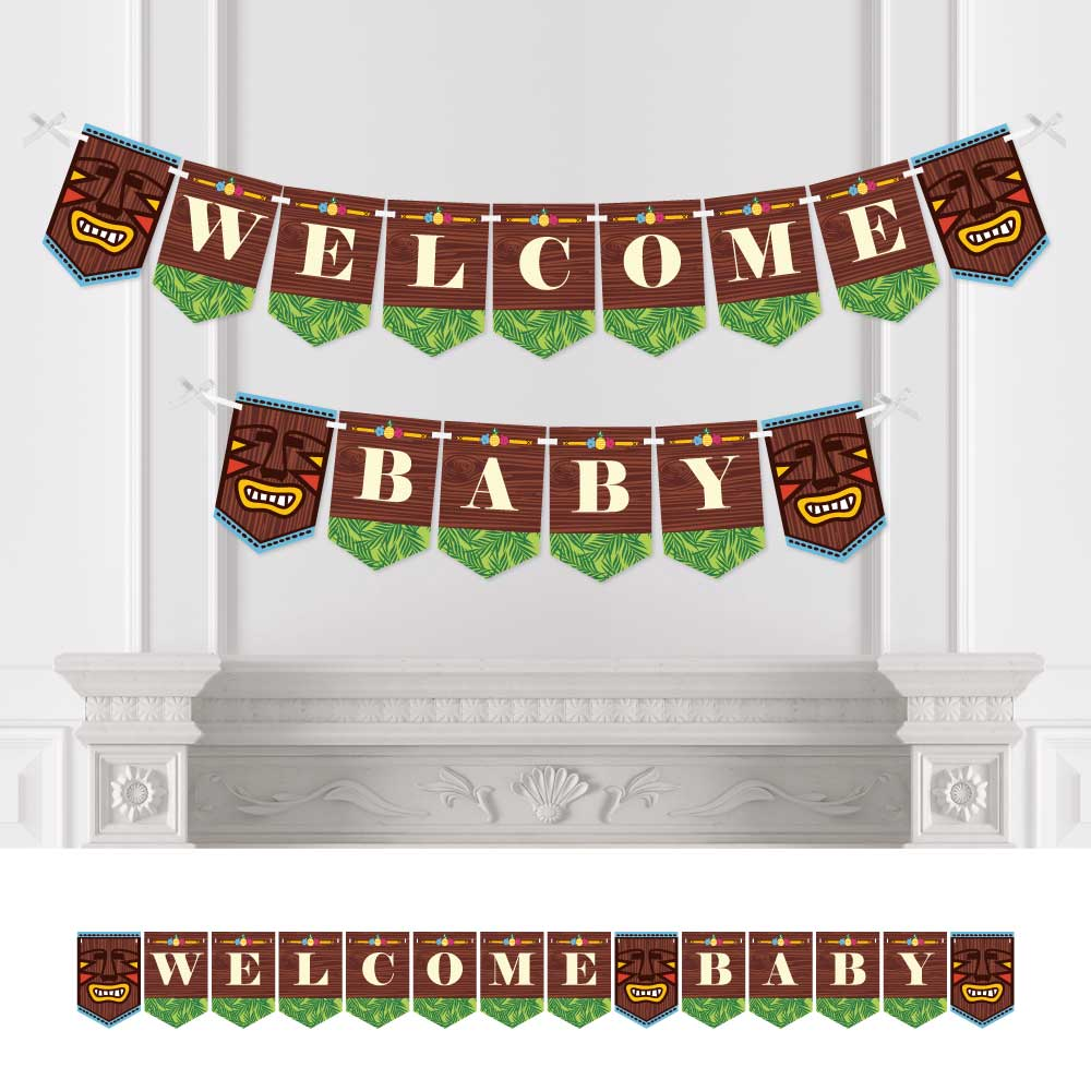 Tiki Luau - Baby Shower Bunting Banner - Tropical Hawaiian Summer Party Decorations - Welcome Baby
