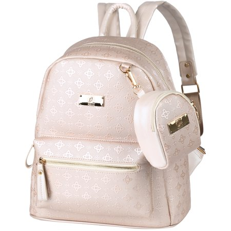 Vbiger 2 in 1 Women Backpack PU Leather Shoulders Bag Chic School Bags Portable Travel Daypack with Hanging Pouch, Beige