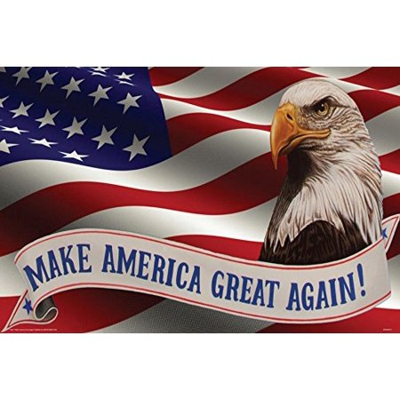 Eagle and Flag Make America Great Again Slogan by Darryl Vlasak 36x24 Art Print Poster USA (Alvin Poster)