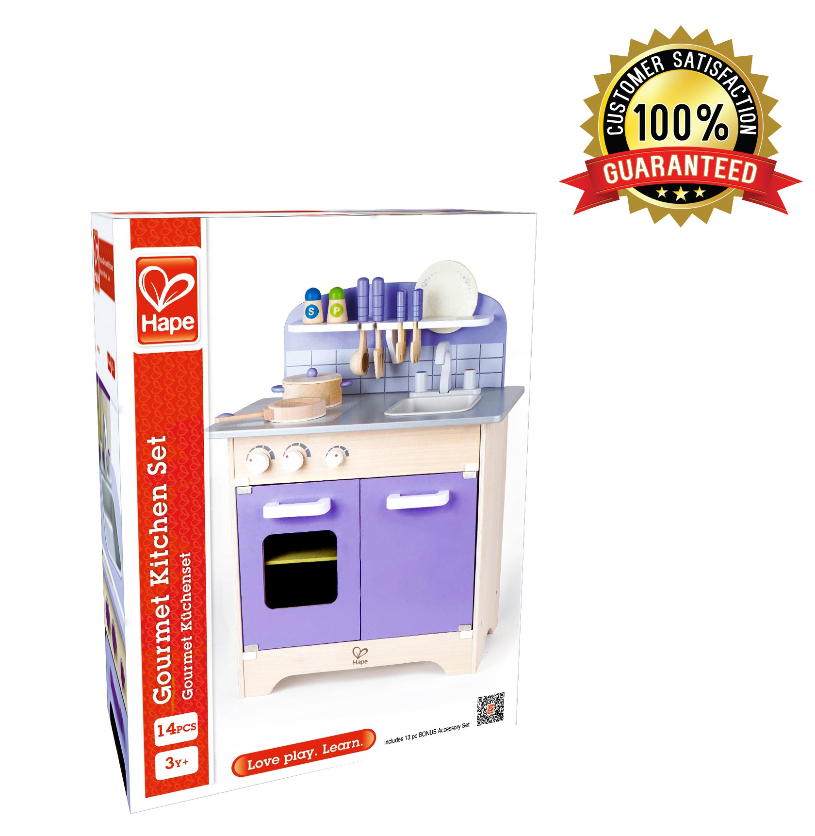 Wooden Toys Kitchen Playset With 13 Toy Kitchen Accessories