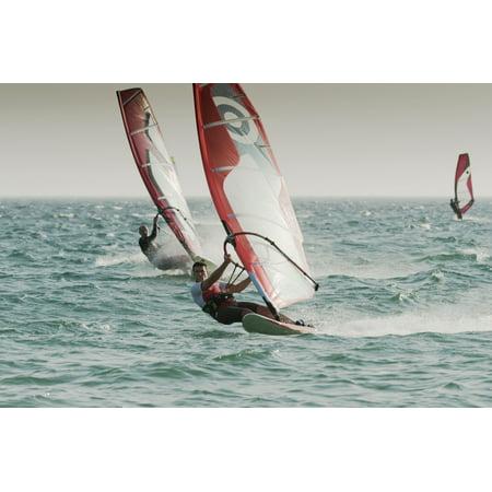 Windsurfing Tarifa Cadiz Andalusia Spain Canvas Art - Ben Welsh Design Pics (19 x 12)