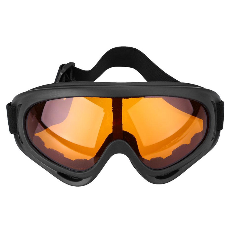 Ski Snowboard Goggles Protective Wind Dust Protective Adjustable Orange Lens by