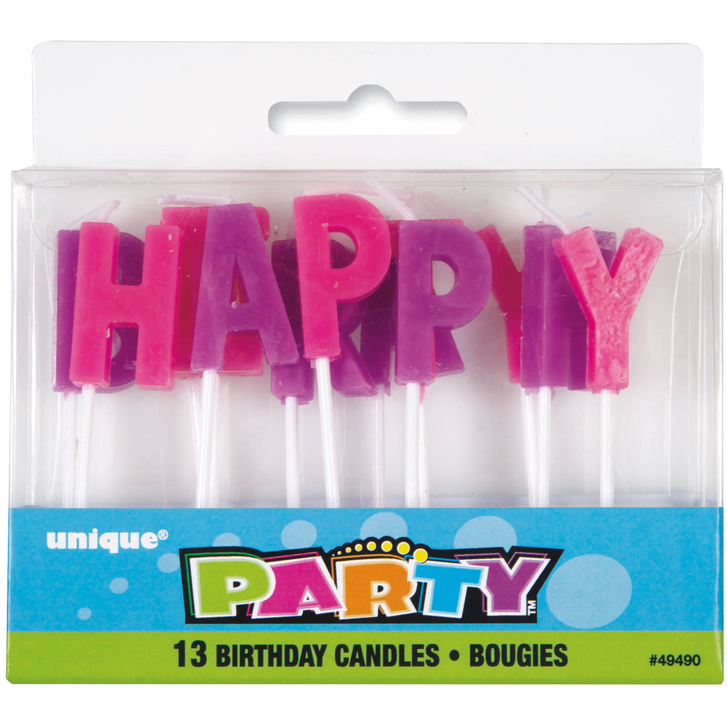 """HAPPY BIRTHDAY"" Letter Birthday Candles, Pink & Purple, 13pc"