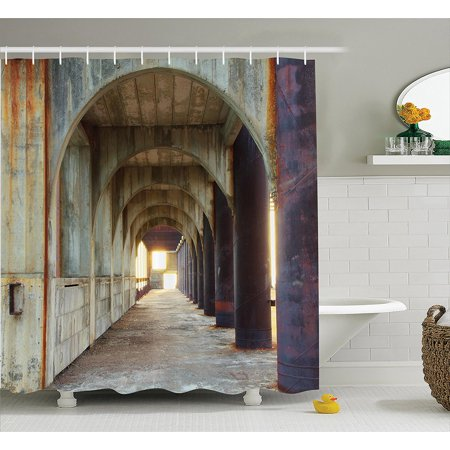 Apartment Decor Shower Curtain Set by , Corridor of Concrete Pillars  Structure Urban Industrial Rustic Home Decoration, Bathroom Accessories, 75  ...