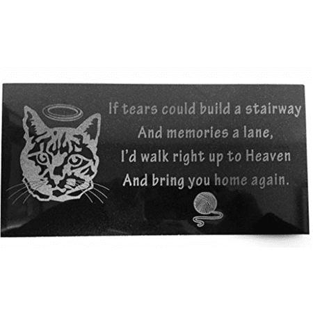 3D Laser Engraved Black Granite Stone Pet Memorial Marker 12 x 6 inches