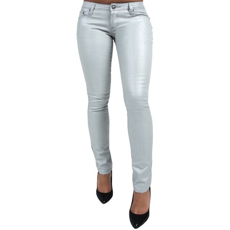 Silver Jeans Embroidered Jeans - S&P Women's Contemporary Stretch Silver Coated Denim Skinny Jeans Embroidery Pockets