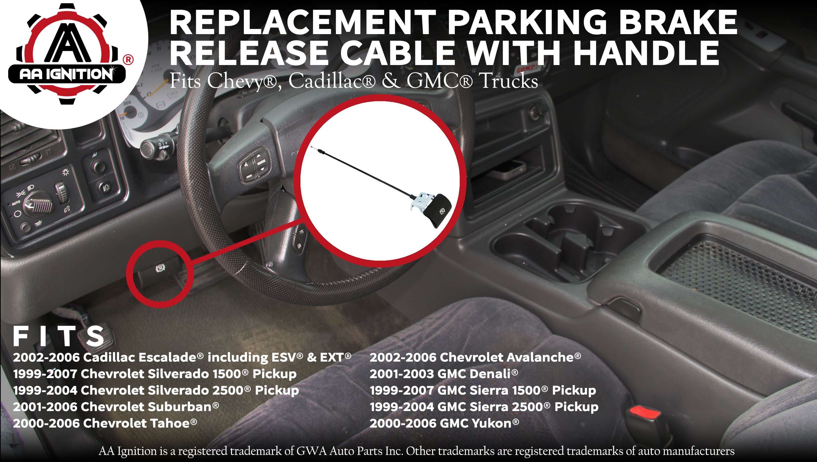 Parking Brake Release Cable With Handle Replaces 15226272 Chevy Silverado Chevrolet Tahoe Suburban Avalanche Gmc Sierra Yukon Denali Parking Brake Cable For Emergency Hand Brake Walmart Com Walmart Com