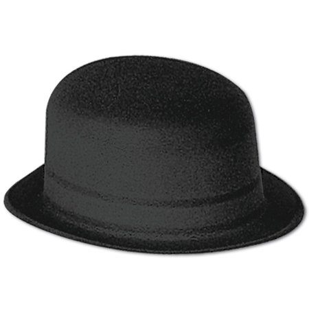 Club Pack of 24 Solid Black Velour Derby Party Hats