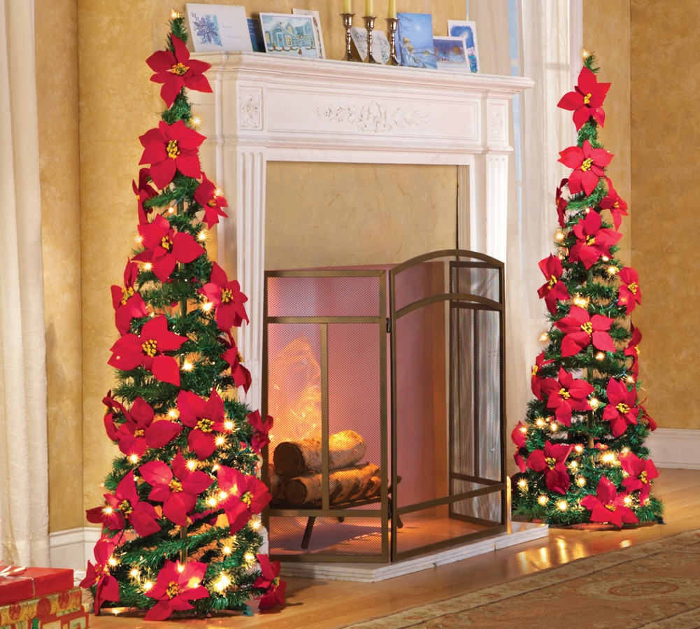 Lighted Holiday Poinsettia Pull Up Artificial Christmas Tree, Red, ...