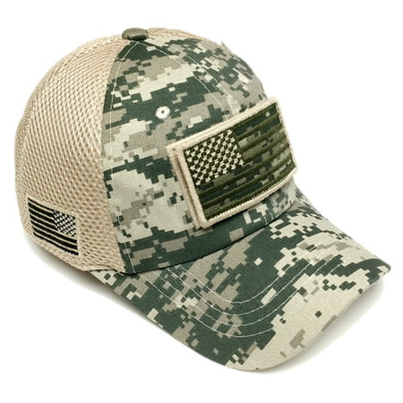 US Army Desert/Green Digital Camo Vintage Cotton Cap USA Flag Patch Trucker  Mesh Hat