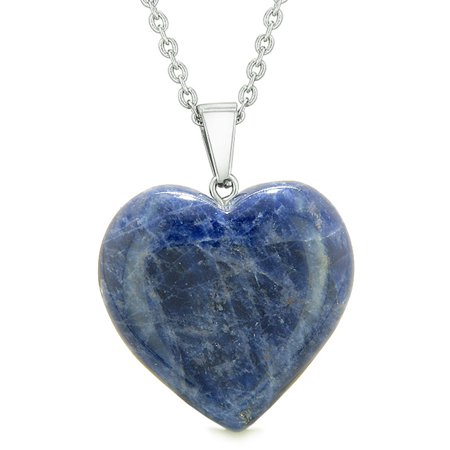 Lucky Puffy Heart Charm Crystal Sodalite Good Luck Protection Powers Amulet Pendant 18 Inch